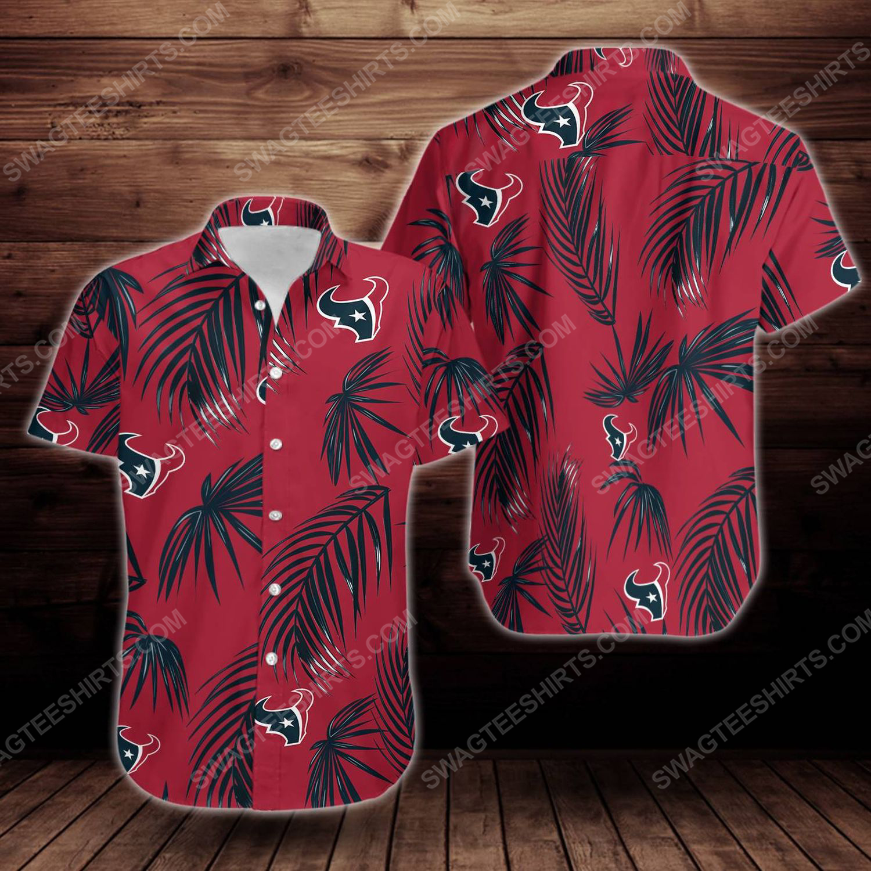 Tropical summer houston texans short sleeve hawaiian shirt 1