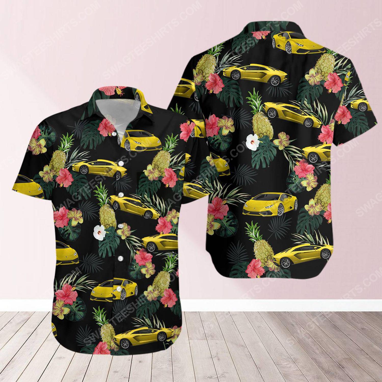 Tropical summer lamborghini short sleeve hawaiian shirt 1