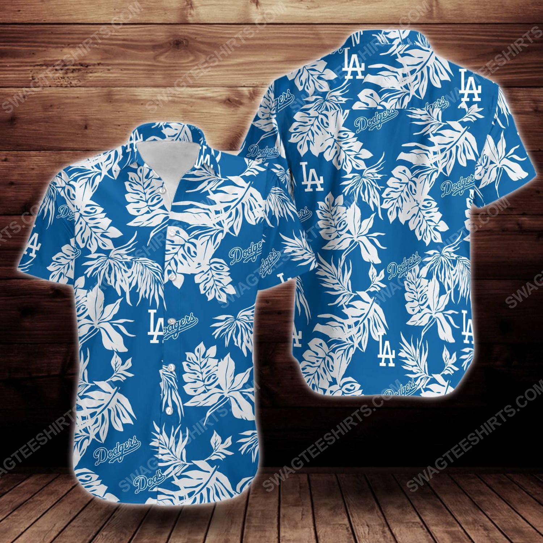 Tropical summer los angeles dodgers short sleeve hawaiian shirt 1