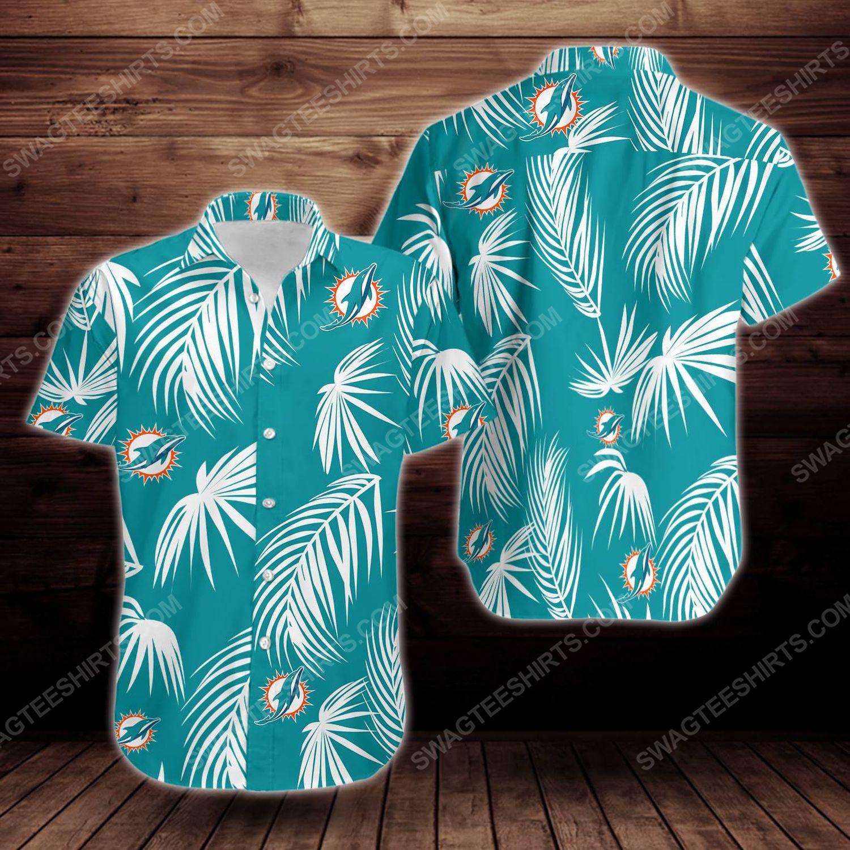 Tropical summer miami dolphins short sleeve hawaiian shirt 1