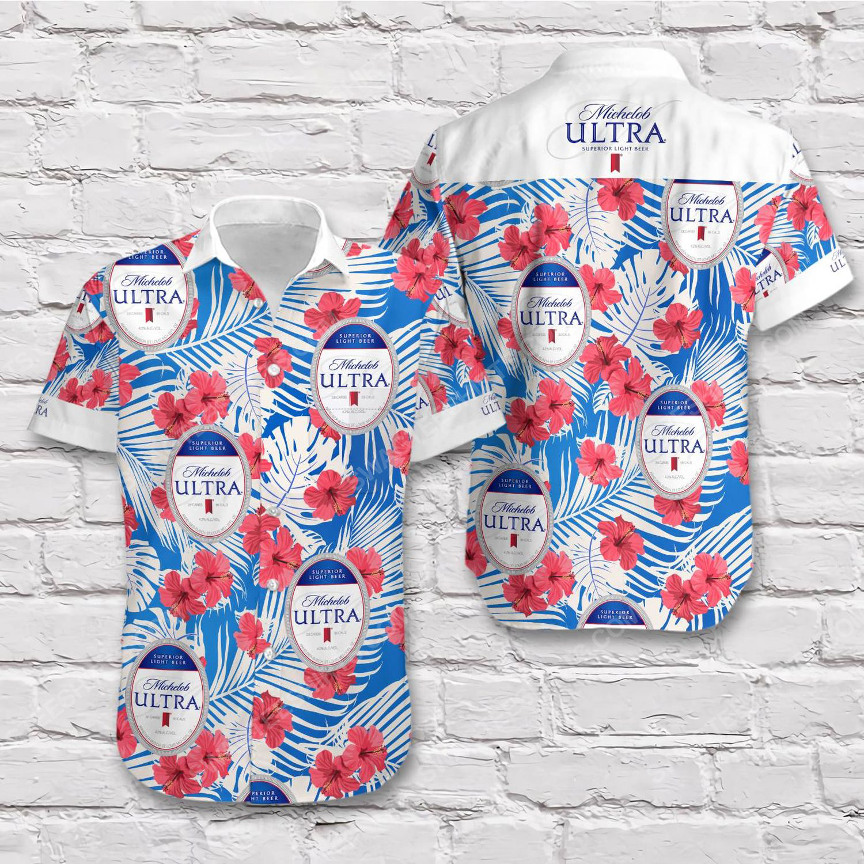 Tropical summer michelob ultra beer short sleeve hawaiian shirt 1
