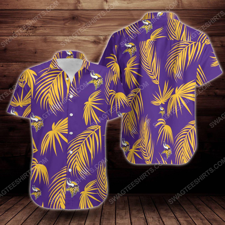 Tropical summer minnesota vikings short sleeve hawaiian shirt 1