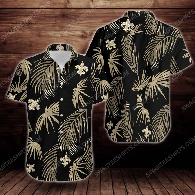 Tropical summer new orleans saints short sleeve hawaiian shirt 1