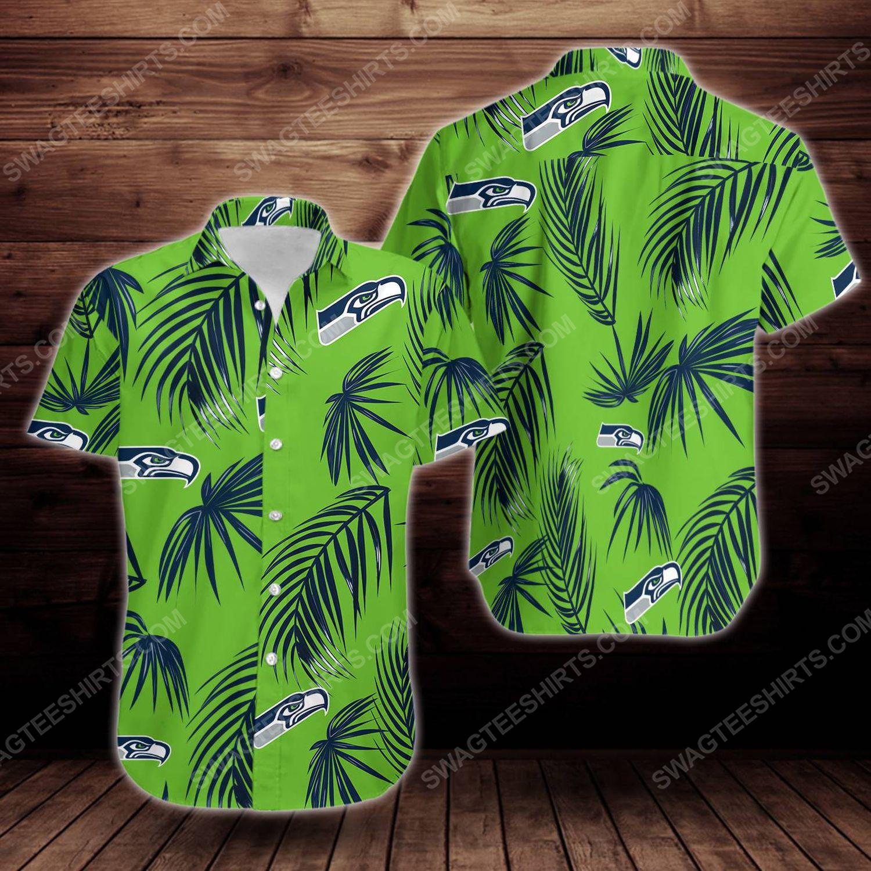 Tropical summer seattle seahawks short sleeve hawaiian shirt 1