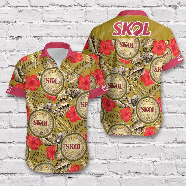 Tropical summer skol beer short sleeve hawaiian shirt 1
