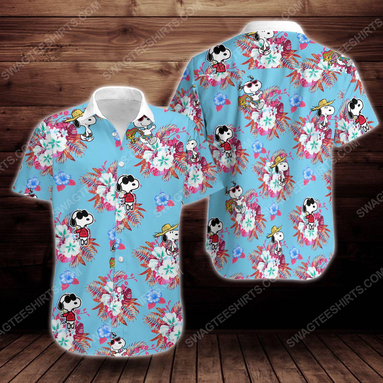 Tropical summer snoopy short sleeve hawaiian shirt 1