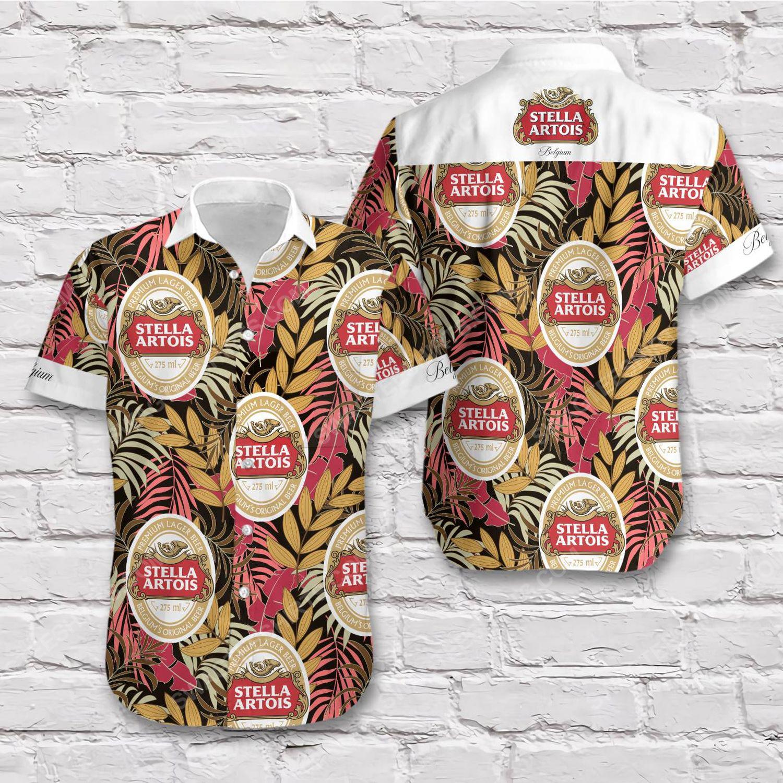 Tropical summer stella artois beer short sleeve hawaiian shirt 1