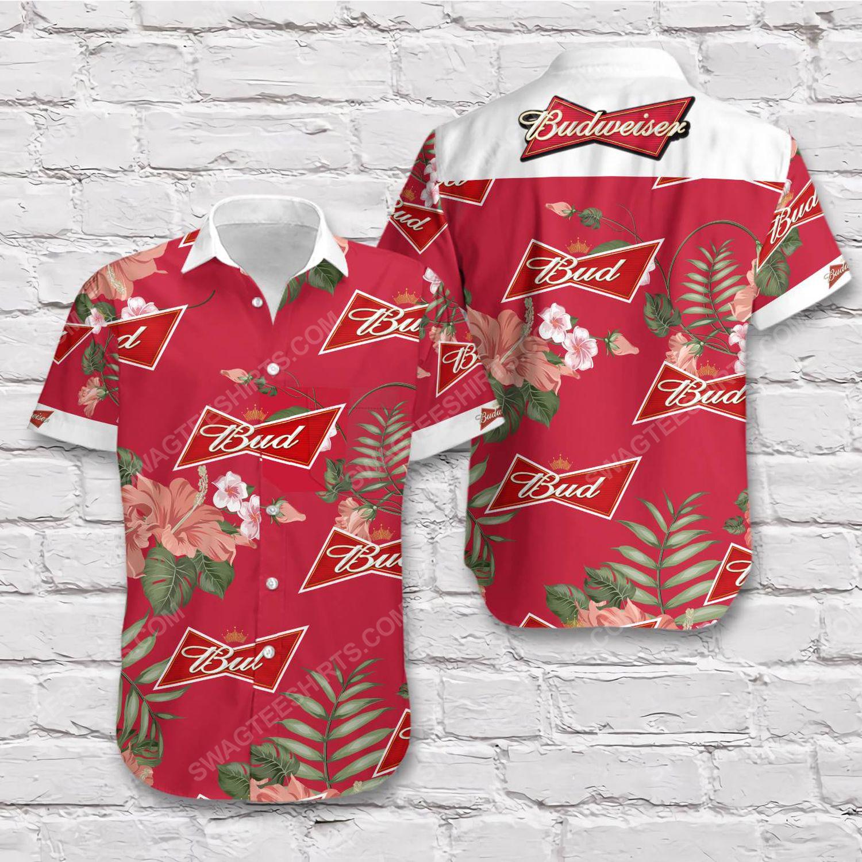 Tropical vibe budweiser beer short sleeve hawaiian shirt 1