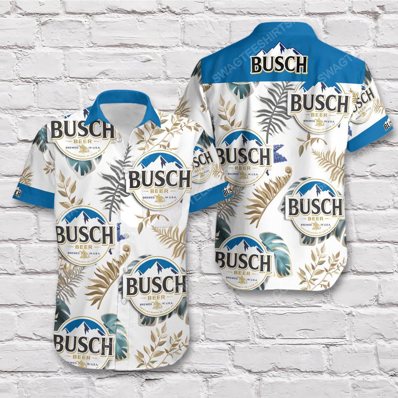 Tropical vibe busch beer blue short sleeve hawaiian shirt 1