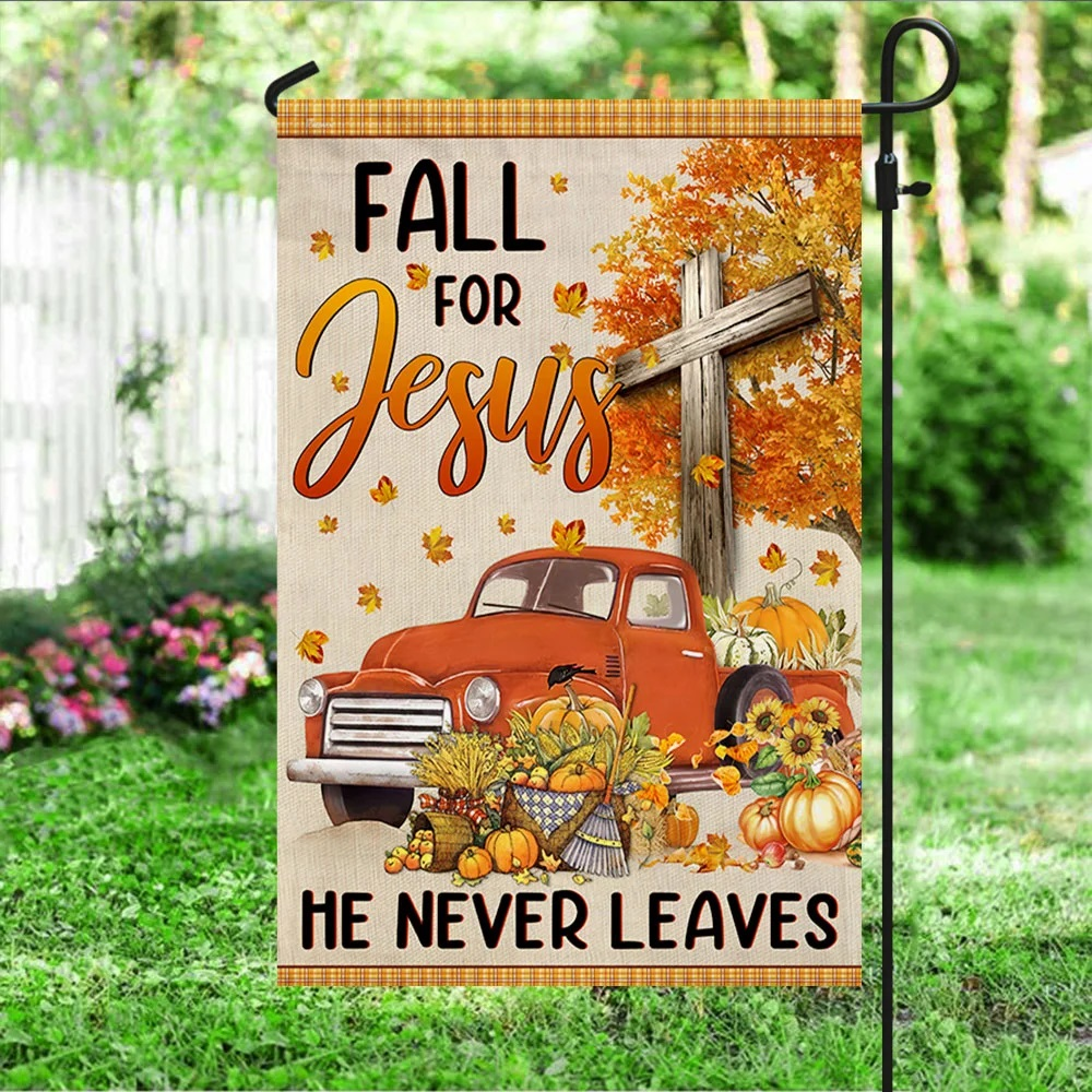 Truck with pumpkins Fall for jesus he never leaves halloween flag - Picture 3