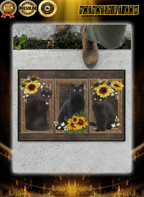 Black cat sunflower doormat