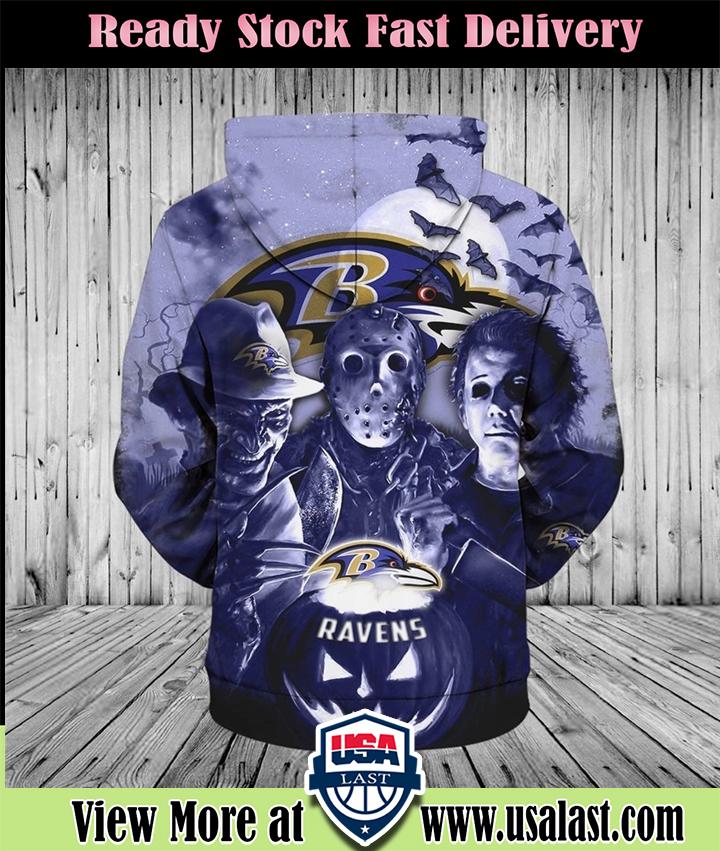 Baltimore Ravens Halloween Horror Night 3D Pullover Hoodie