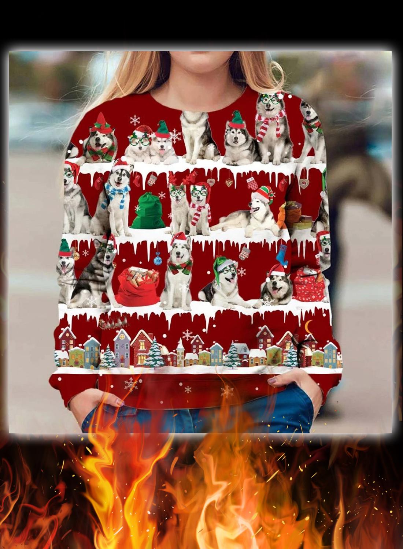 Alaskan Malamute snow christmas ugly sweater
