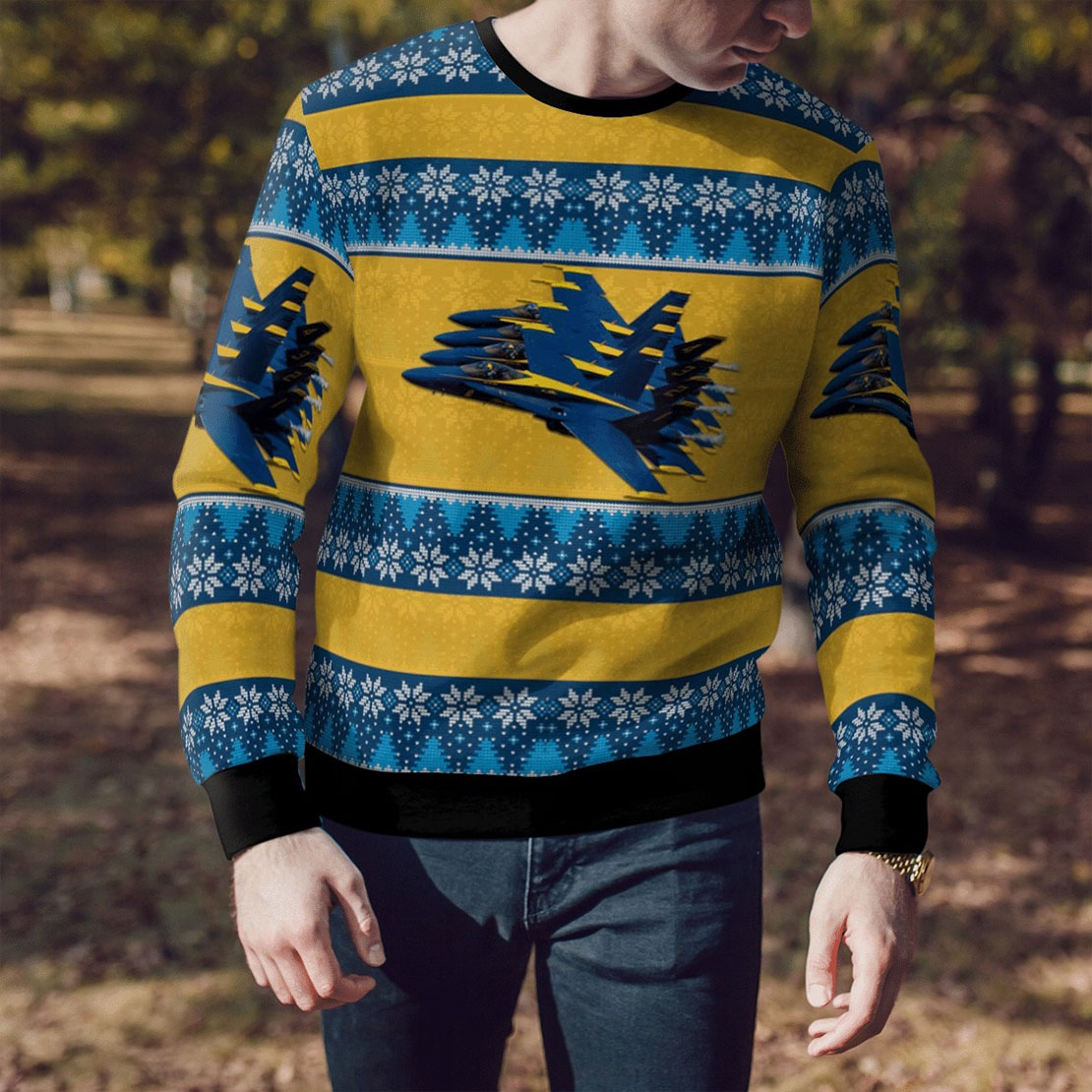 USN Blue angels all over print sweater