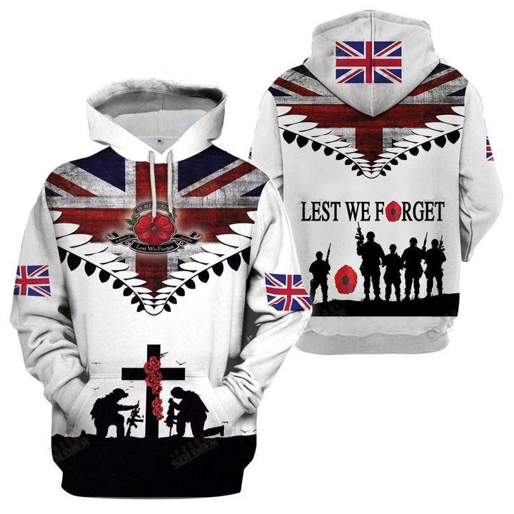 United Kingdom Veteran Lest We Forget 3D All Over Print Shirt - Hothot 090921