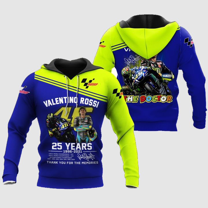 Valentino Rossi The Doctor 25 years 3D Full Print Hoodie