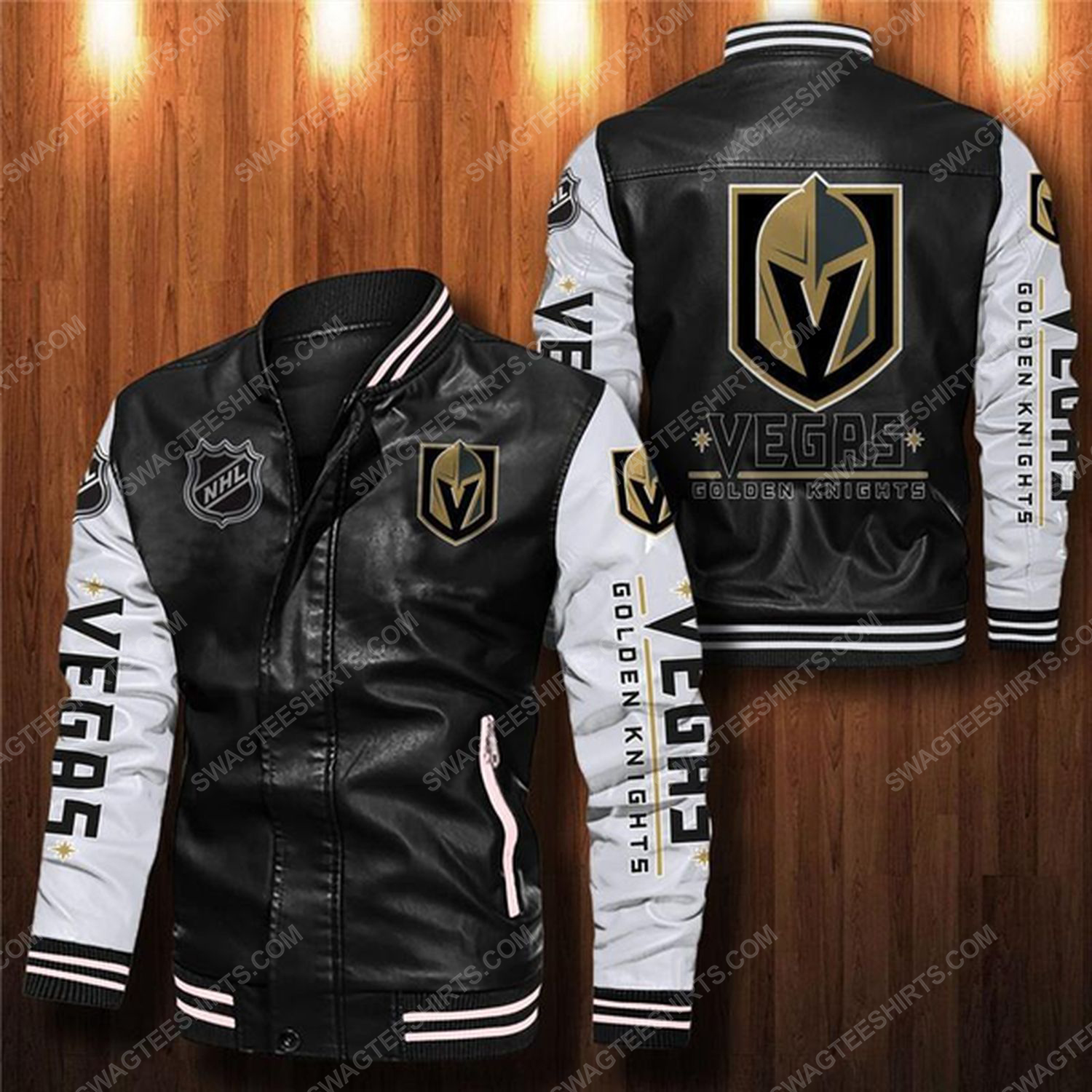 Vegas golden knights all over print leather bomber jacket - white