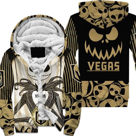 Vegas golden knights jack skellington halloween 3d all over print hoodie4
