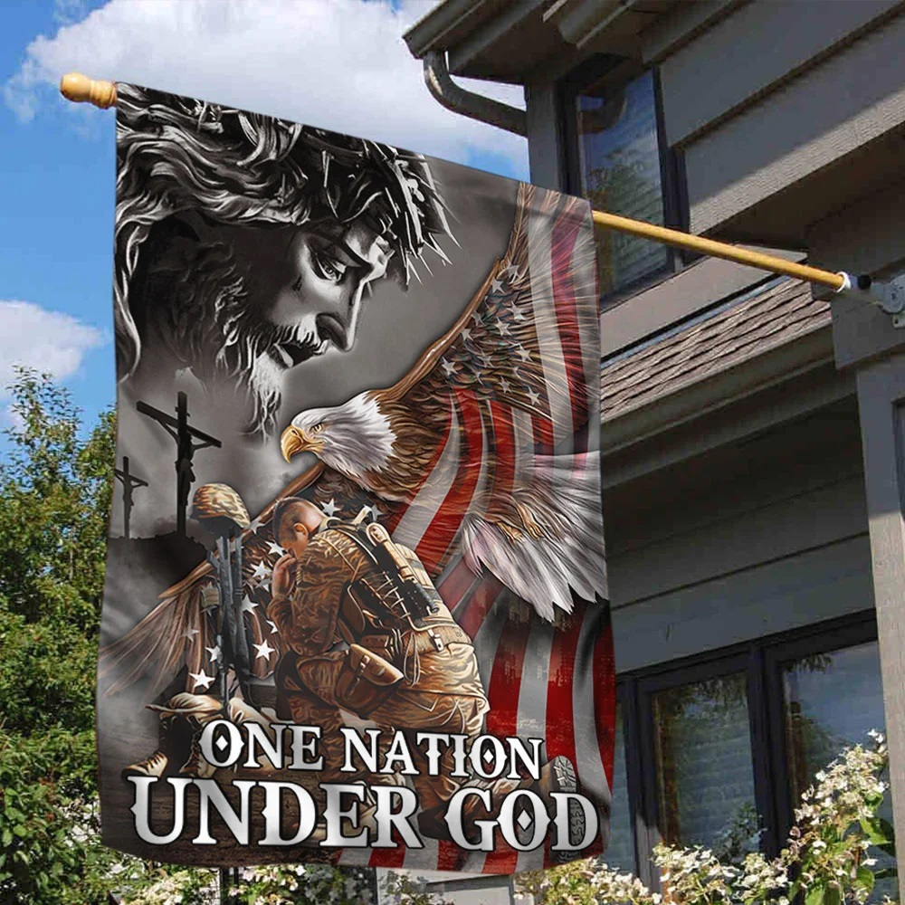 Veteran Flag One Nation Under God Eagle American - Picture 1