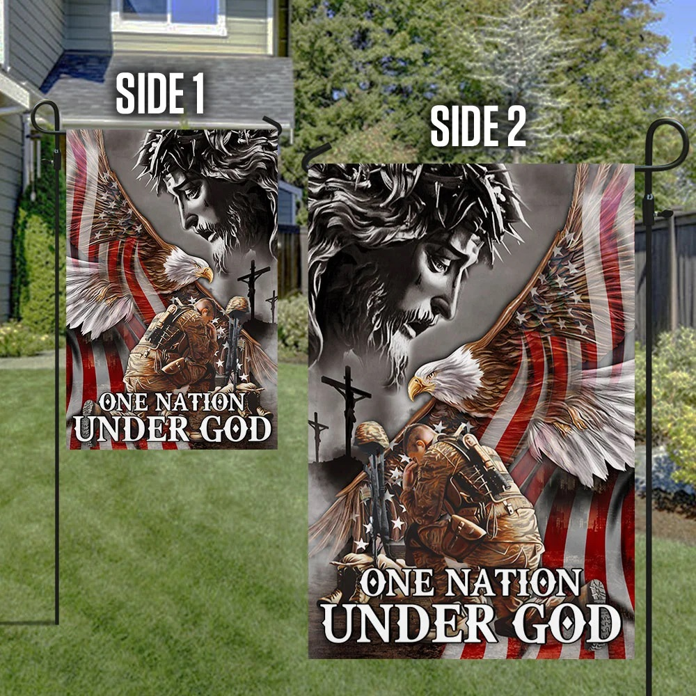 Veteran Flag One Nation Under God Eagle American - Picture 2