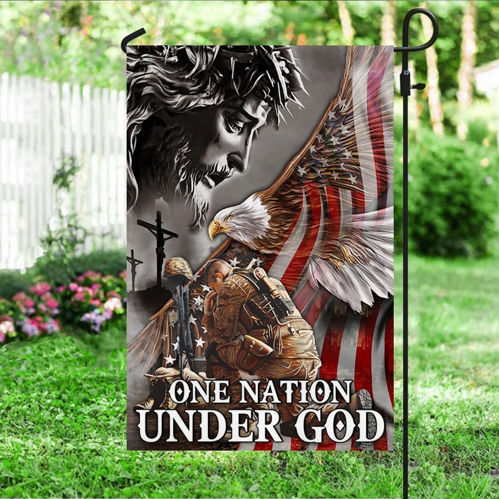 Veteran Flag One Nation Under God Eagle American - Picture 3