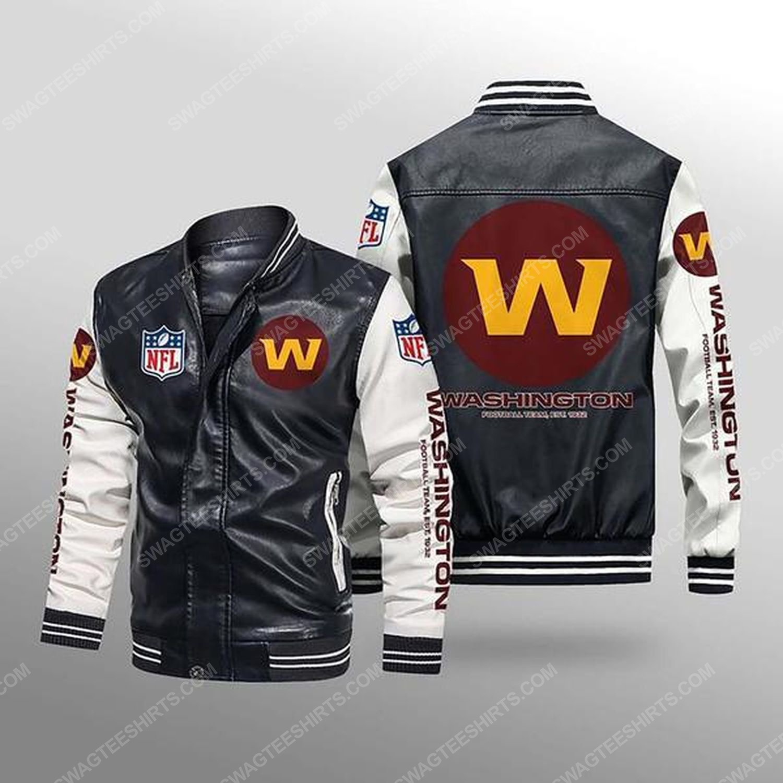 Washington football team all over print leather bomber jacket - white