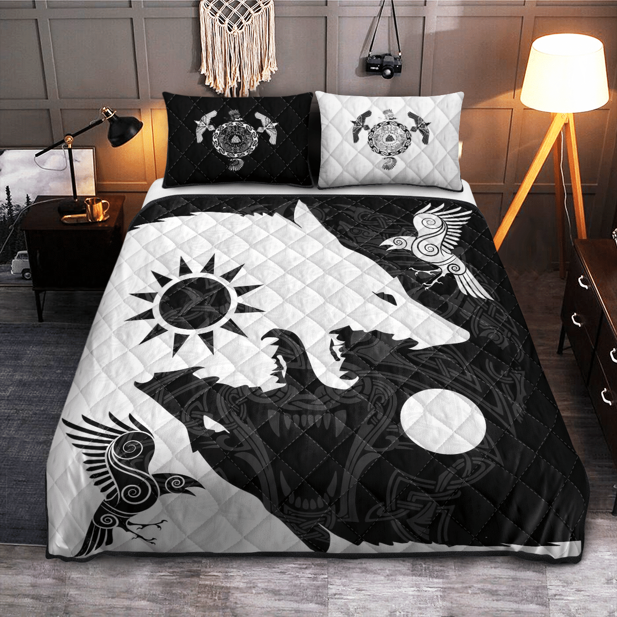 Yin Yang Wolf and Raven Viking quilt bedding set - LIMITED EDITION