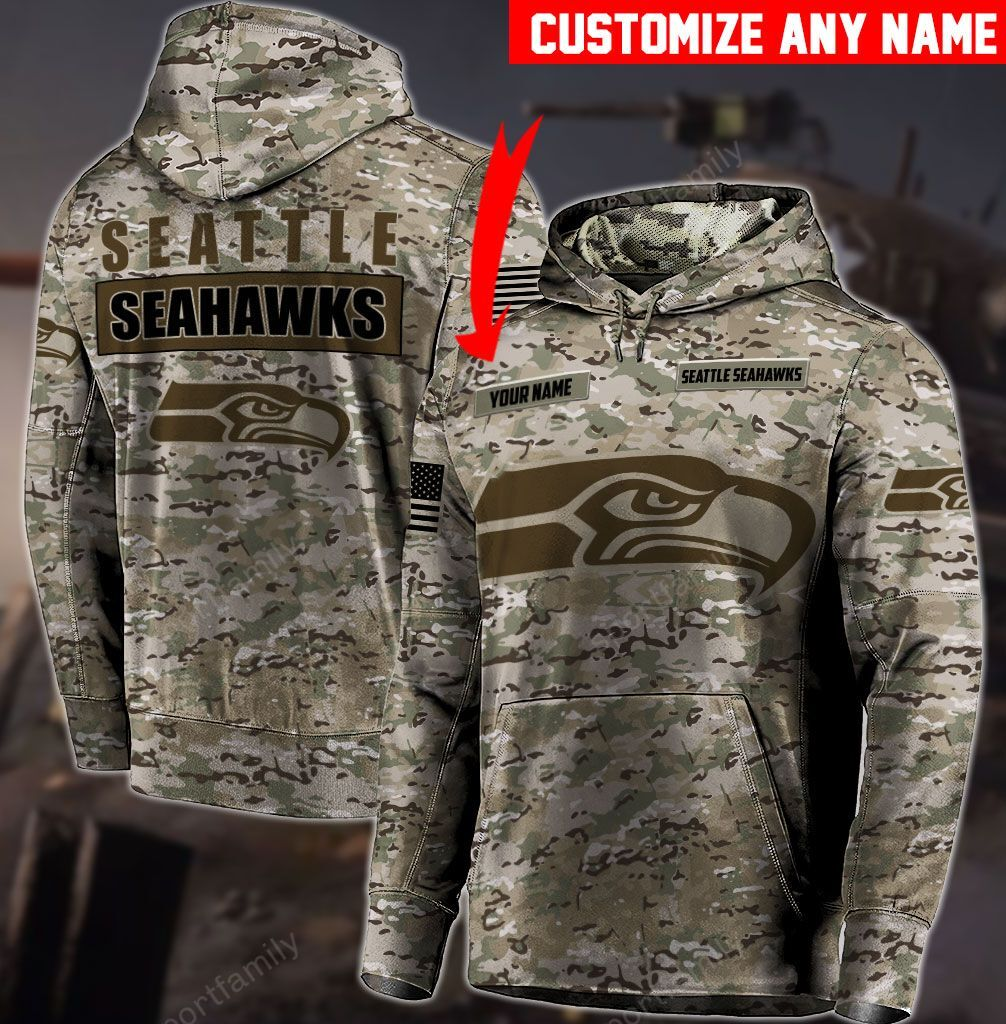 Personalized Customize name seattle seahawks camo 3d hoodie