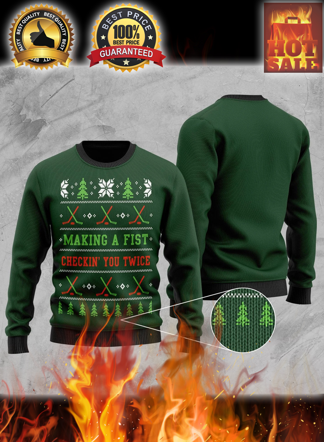 Hockey making a first checking you twice christmas sweater