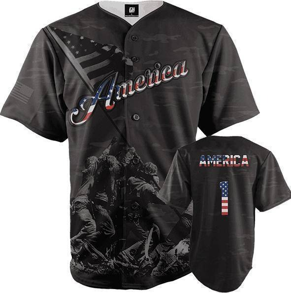 American Black Camo baseball Jersey1