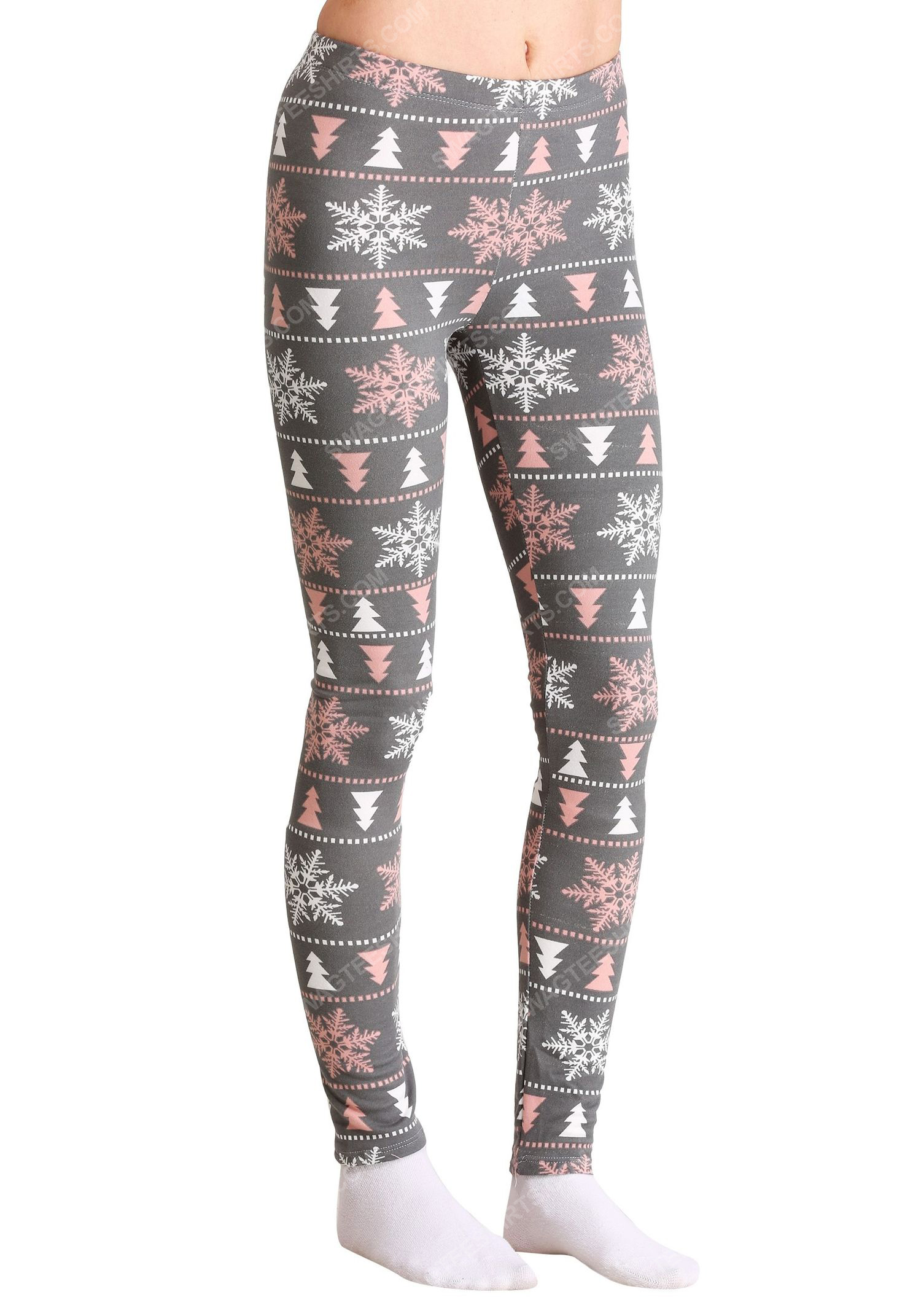 Christmas holiday pink and white snowflake pattern full print leggings 1