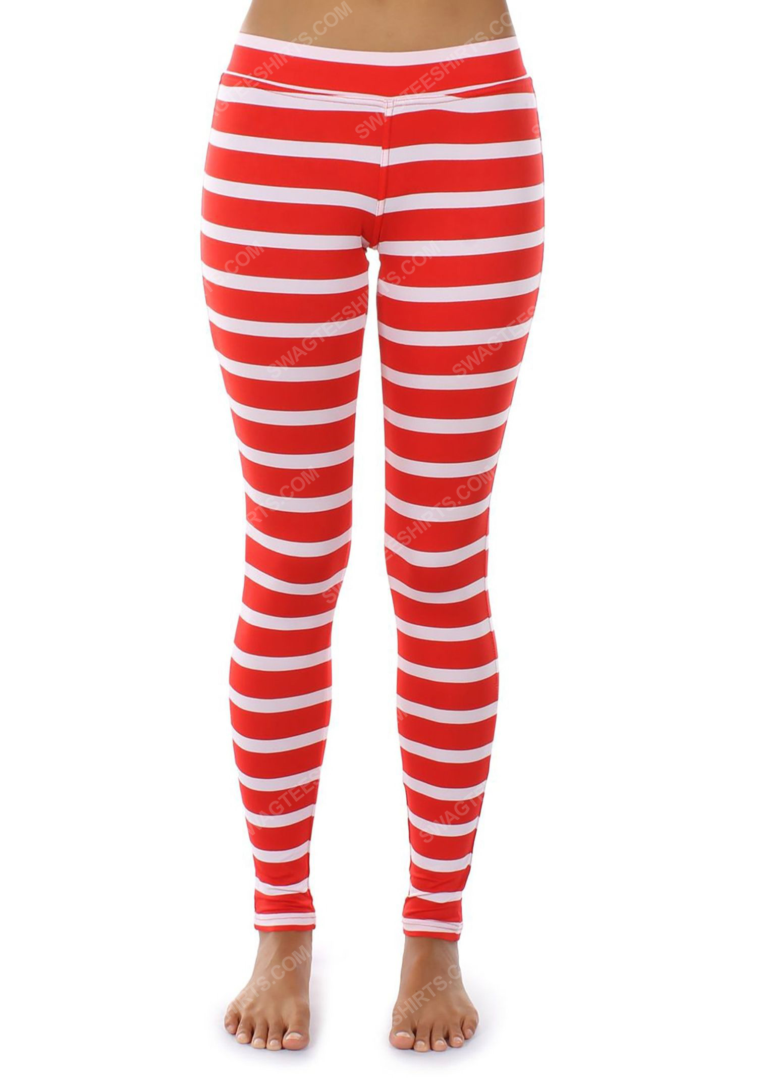 Christmas holiday tipsy elves red stripe full print leggings 1