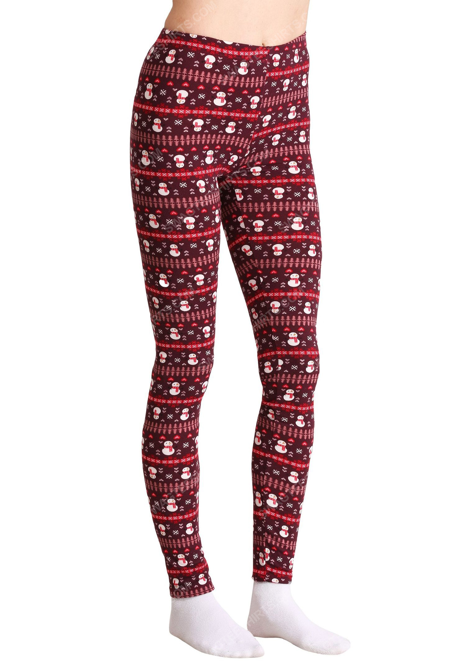 Christmas holiday snowman pattern full print leggings 1