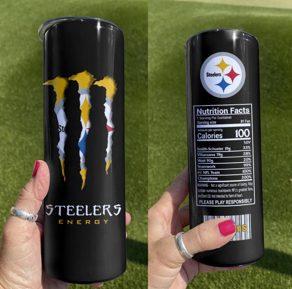 Steelers Monster Energy skinny tumbler