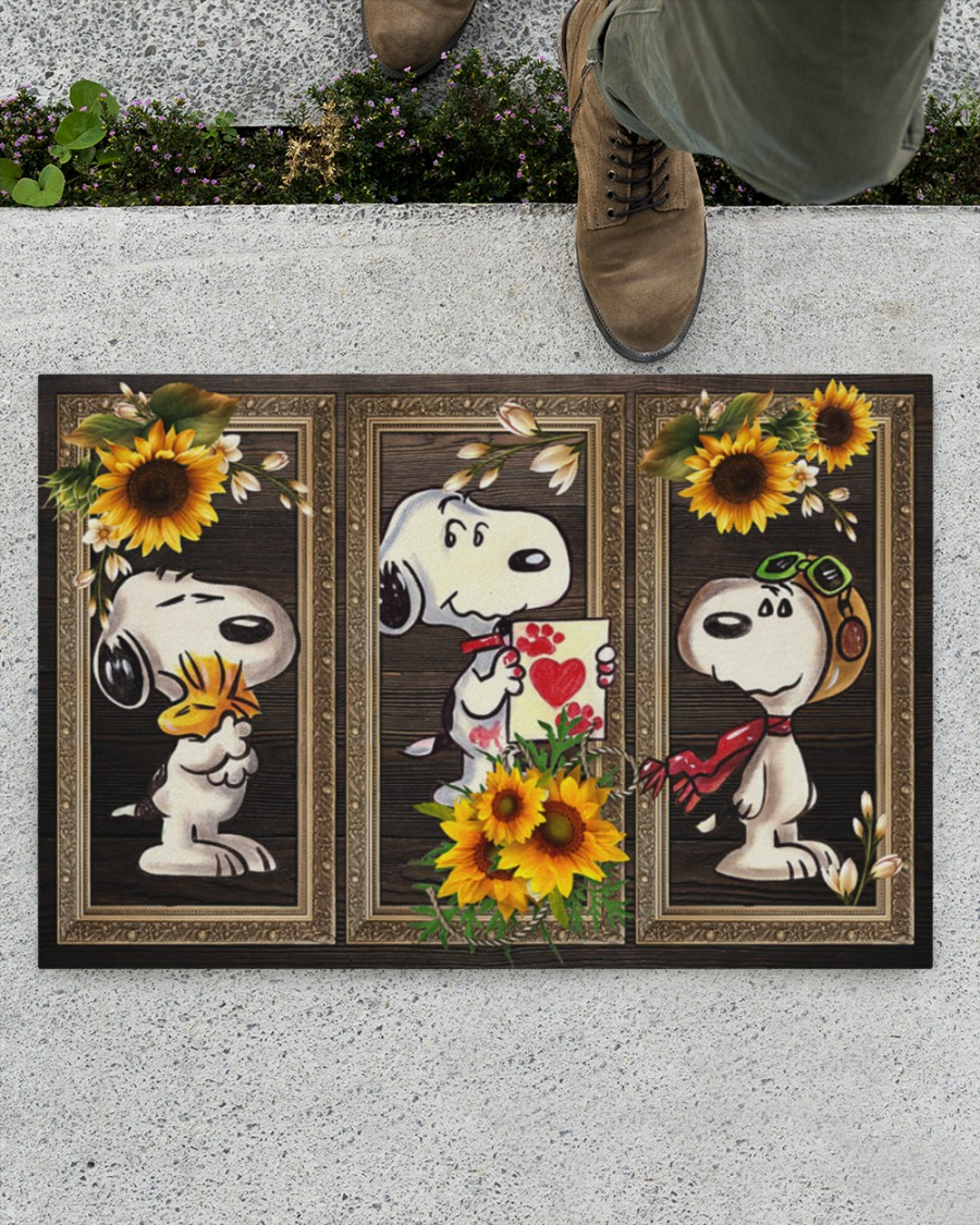 Snoopy and woodstock picture frame doormat