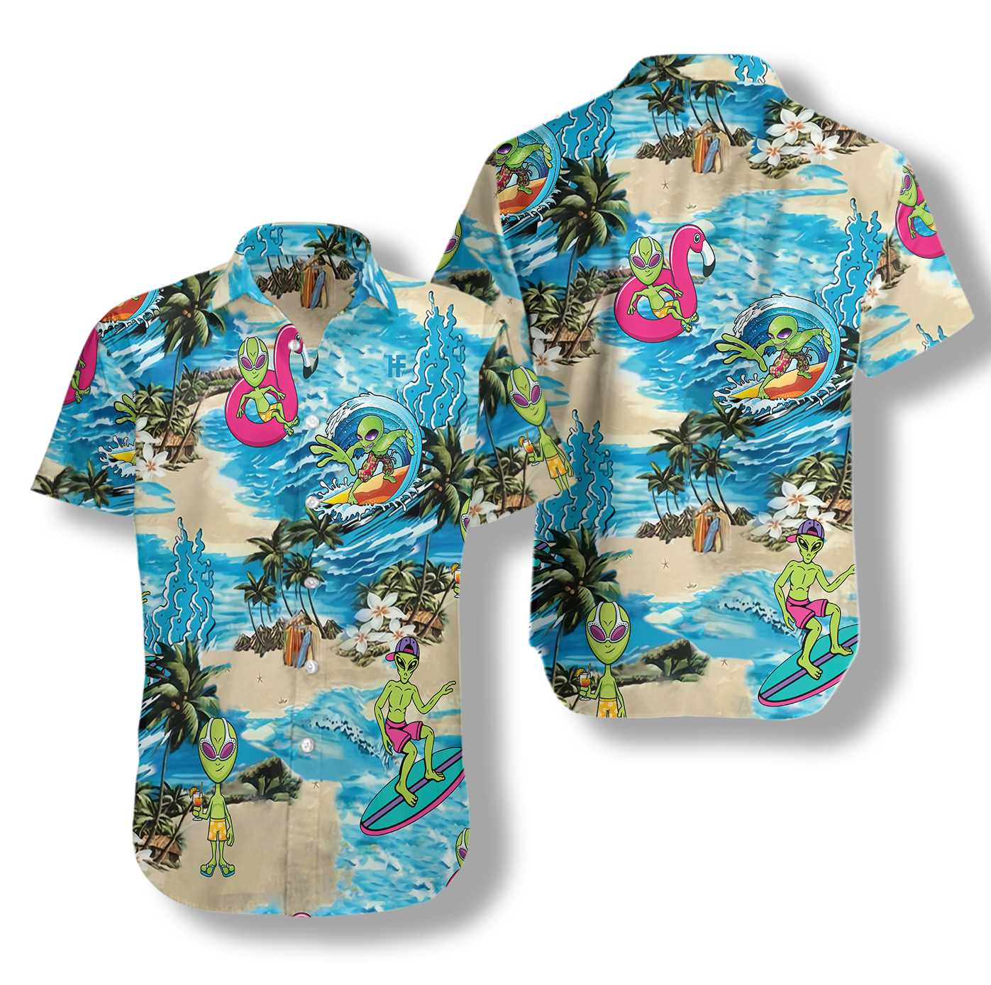 Alien on the beach hawaiian shirt
