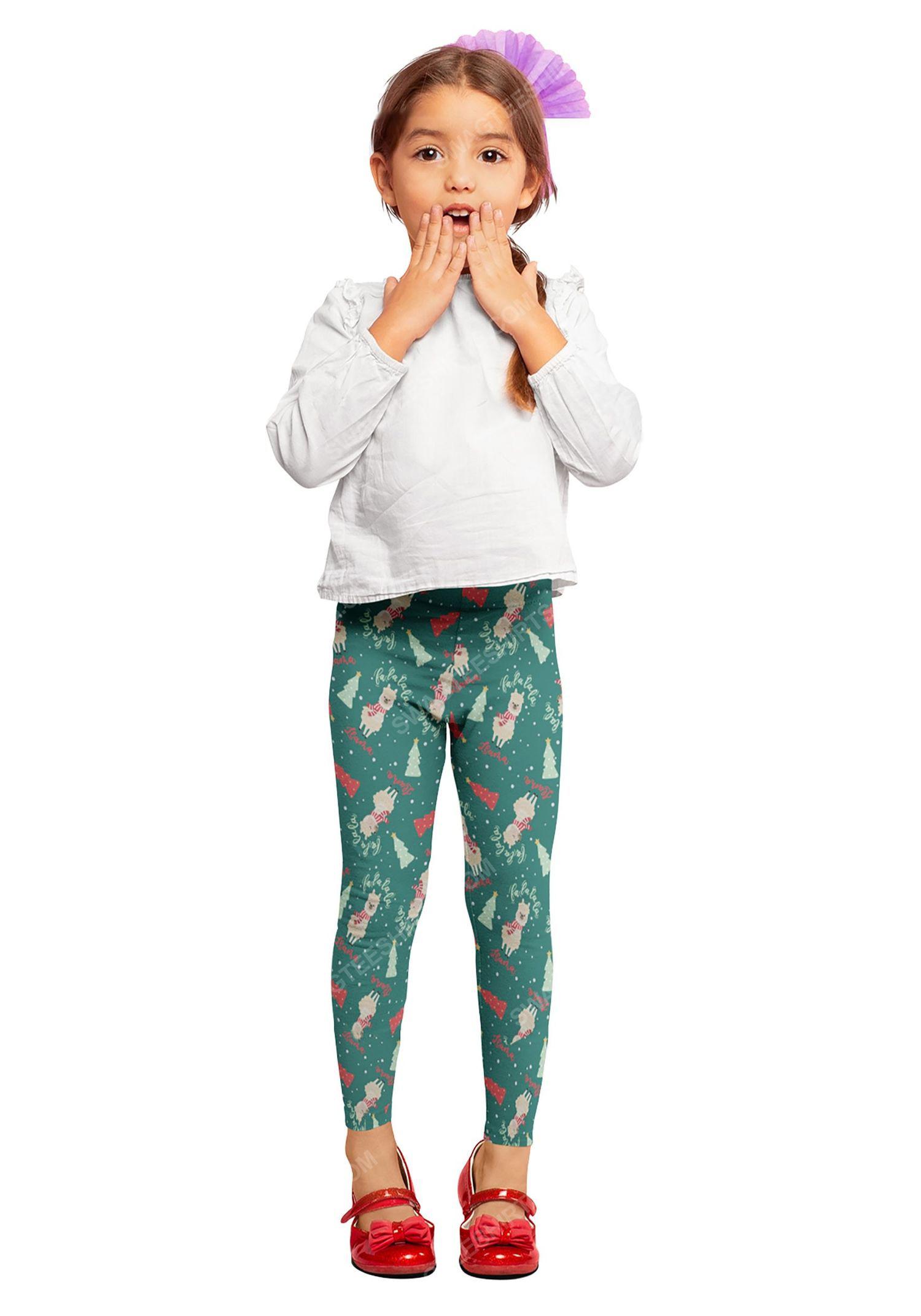 Christmas holiday fa la la la llama pattern full print leggings 1