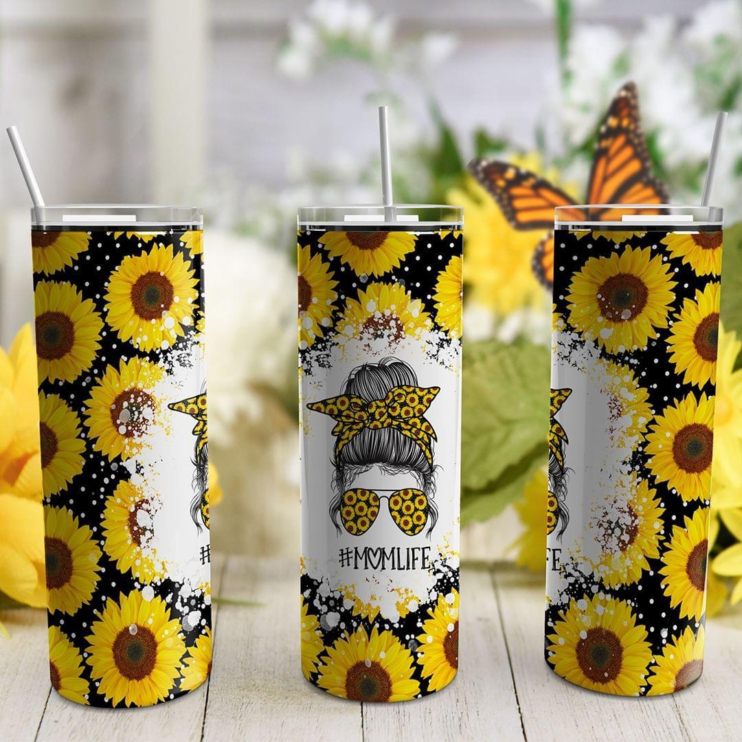#momlife sunflower premium skinny tumbler