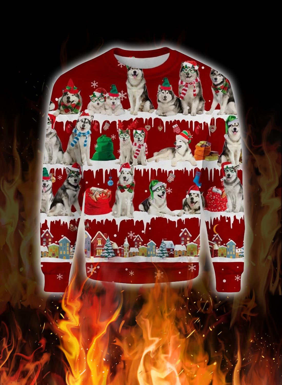 Alaskan Malamute snow christmas ugly sweater 1