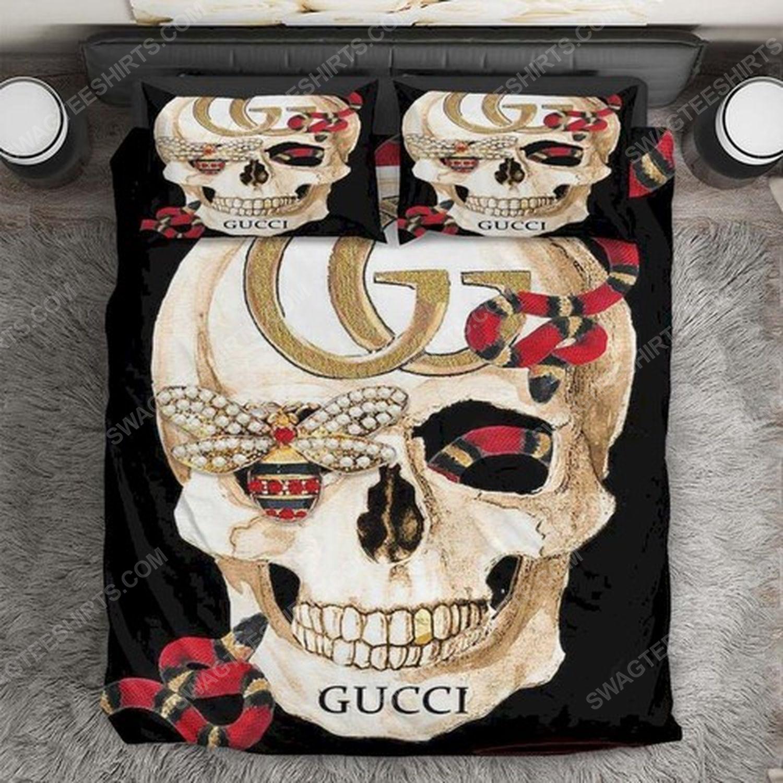 skull gucci and rose full print duvet cover bedding set 1