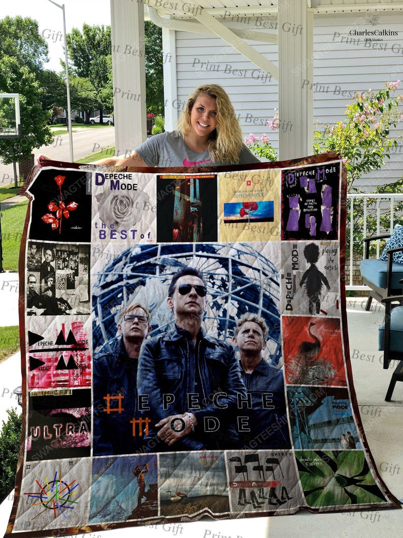 Depeche mode albums cover rock band all over print quilt 1
