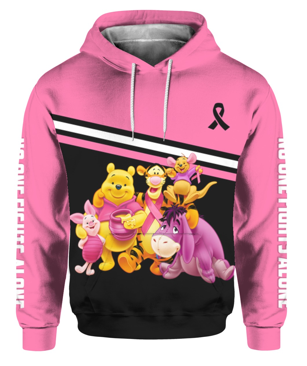 Winnie-the-pooh breast cancer awareness all over printed hoodie