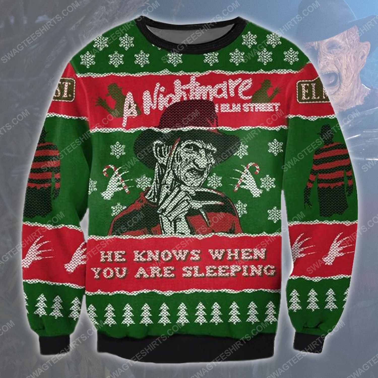 A nightmare on elm street he know when you are sleeping ugly christmas sweater