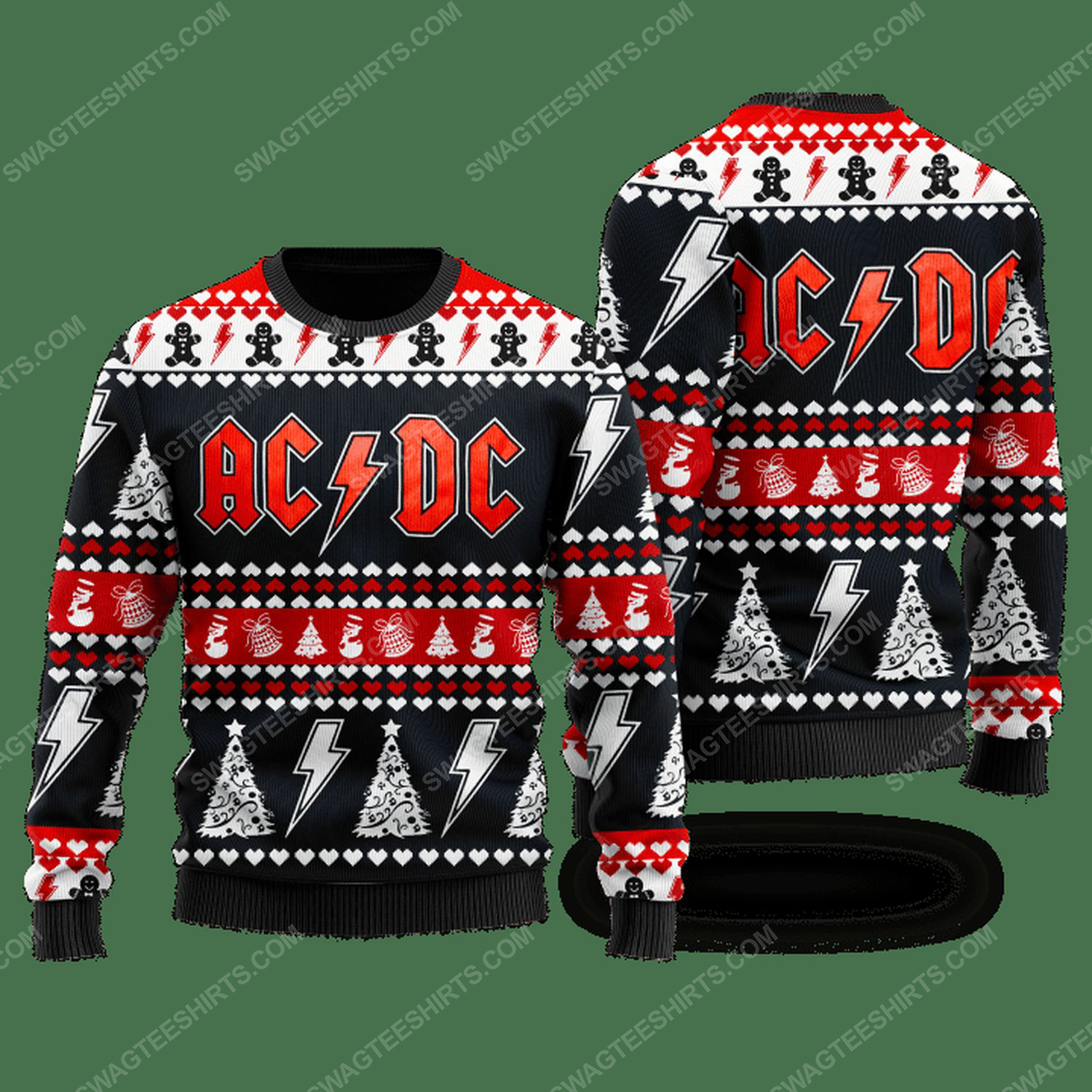 AC DC rock band ugly christmas sweater