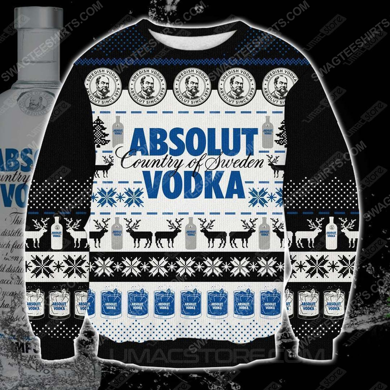 Absolut vodka country of sweden ugly christmas sweater