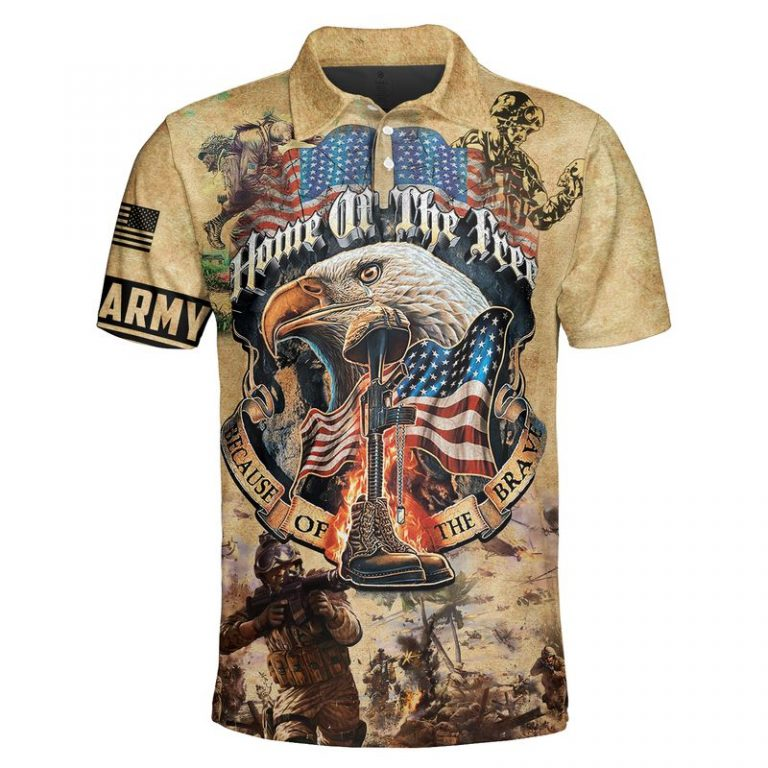 Army veteran Home of the free because of the brave 3d polo shirt
