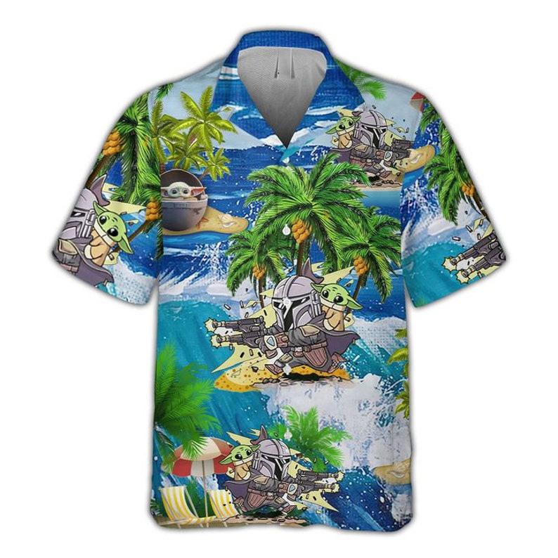 Baby Yoda and Boba Fett Pew Pew Madafakas Hawaiian Shirt