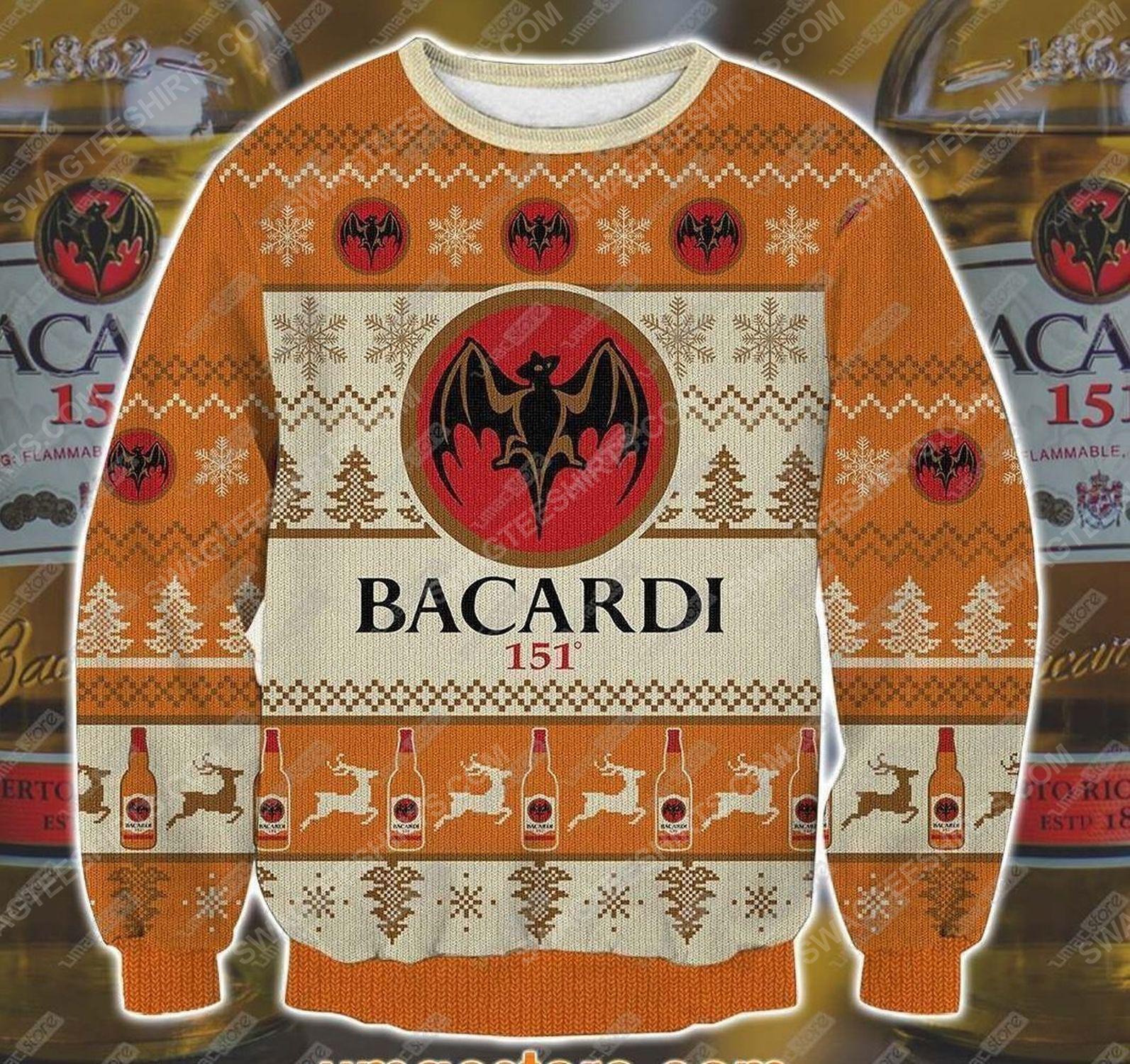 Bacardi rum all over print ugly christmas sweater