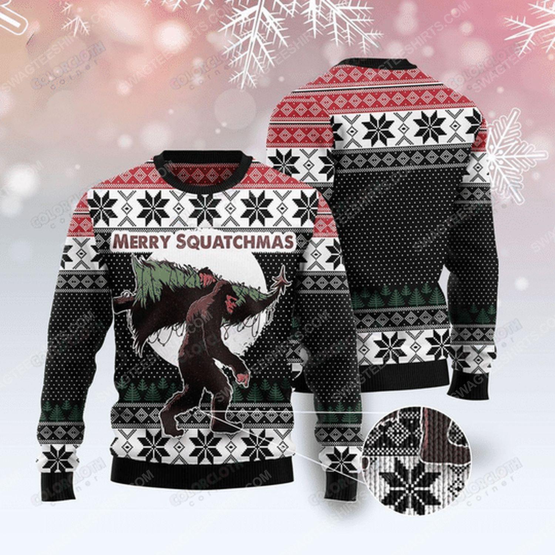 Bigfoot merry squatchmas christmas tree ugly christmas sweater