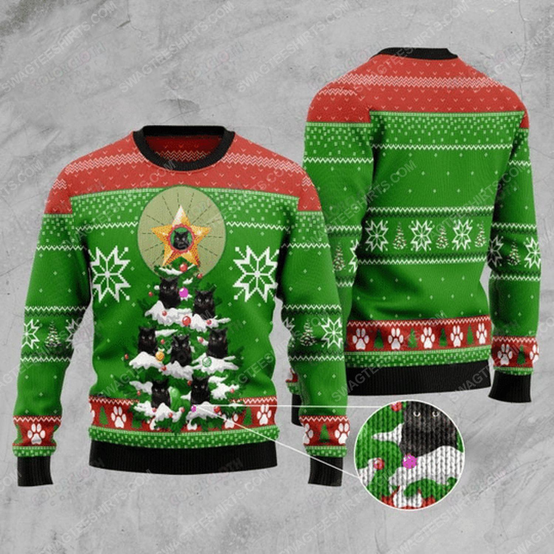 Black cat christmas tree ugly christmas sweater